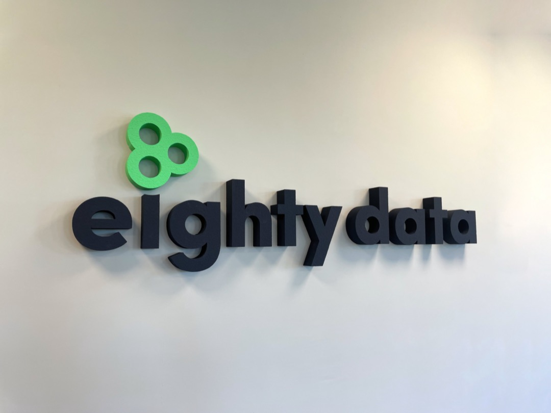 Eighty Data logo office wall